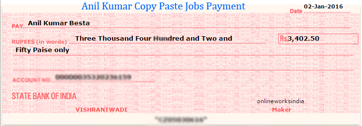 Online Works India Jan 2016 Payment