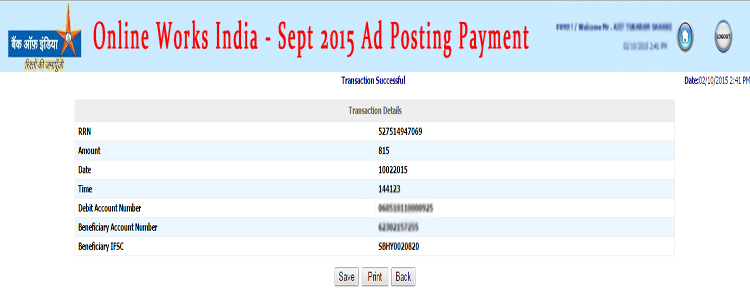 Online Works India Sept 2015 Payment